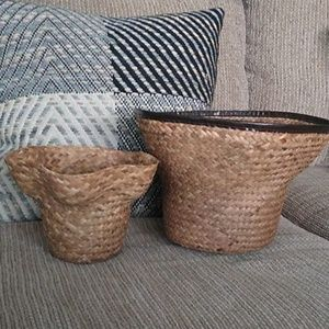 Set of 2 Boho Style Plant Baskets